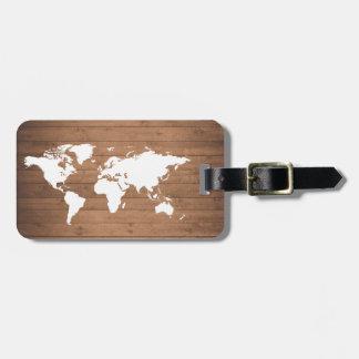 Wood grain World map rustic Luggage Tag