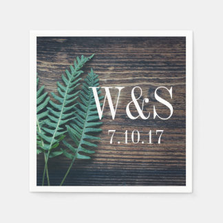 Wood & Greenery Ferns Couple's Initials Wedding Disposable Napkin