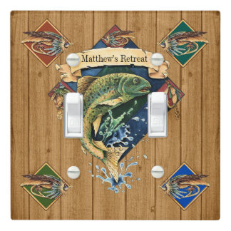 Wood IMAGE Fishing Retreat Light Switch Cover