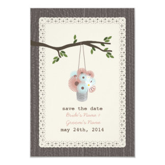 "Wood Inspired Can Of Daisies Save The Date 3.5"" X 5"" Invitation Card"