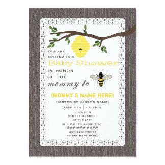 "Wood Inspired Honey Bee Baby Shower 4.5"" X 6.25"" Invitation Card"