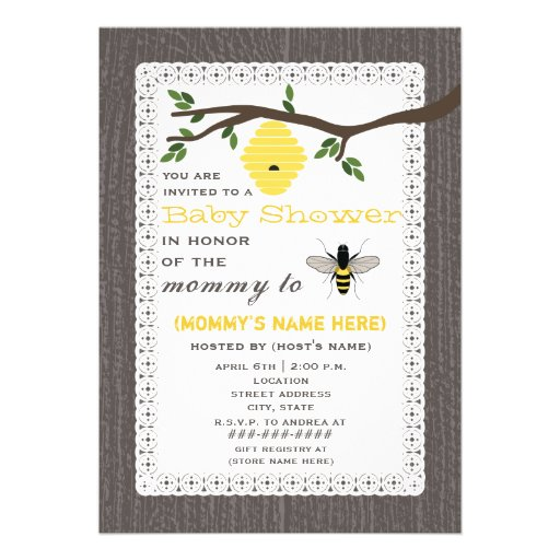 Wood Inspired Honey Bee Themed Baby Shower Personalized Announcement