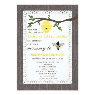 "Wood Inspired Honey Bee Themed Baby Shower 5"" X 7"" Invitation Card"