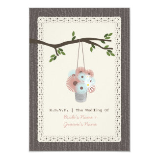 """Wood Inspired Tin Can Of Daisies Wedding RSVP 3.5"""" X 5"""" Invitation Card"""
