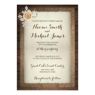 Wood, Lace & Burlap Rustic Wedding Invitation