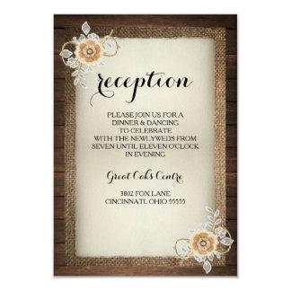 Wood, Lace & Burlap Rustic Wedding Reception Card