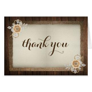 Wood, Lace & Burlap Rustic Wedding Thank You Card