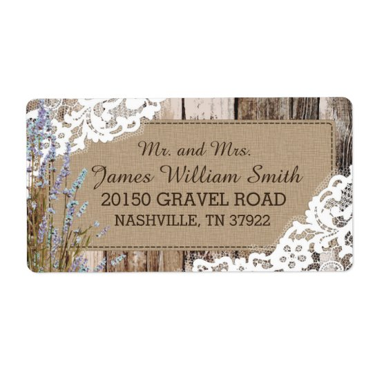 Wood Lavender and Lace Rustic Wedding Label Shipping Label
