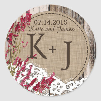 Wood Lavender Lace Rustic Monogram Wedding Label