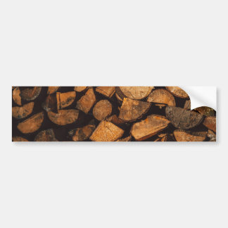 Wood logs pattern bumper sticker