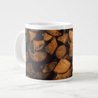 Wood logs pattern large coffee mug