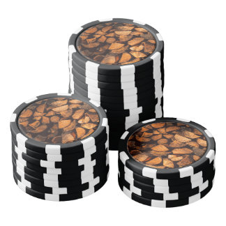 Wood logs pattern poker chips