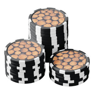 Wood logs poker chips