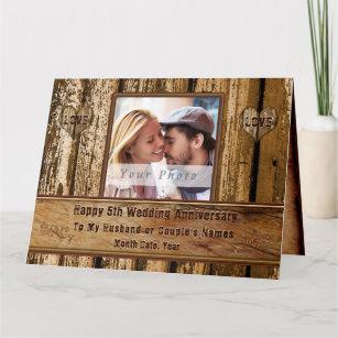 Wood Look 5th Anniversary Card for Husband, BIG