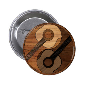 Wood Look Acoustical Guitar Yin Yang 2 Inch Round Button