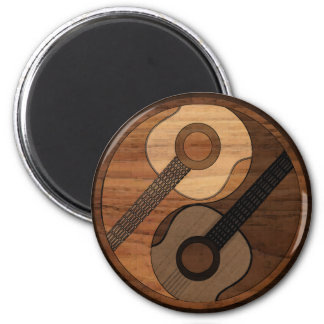 Wood Look Acoustical Guitar Yin Yang 2 Inch Round Magnet