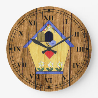 Wood Look Colorful Coo Coo Bird House Large Clock