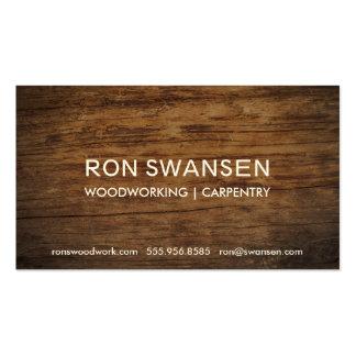 Wood-Look Dark Brown Masculine Simple Understated Pack Of Standard Business Cards