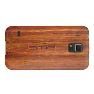 Wood-look with custom engraved name galaxy s5 cases