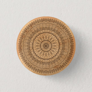 Wood mandala 1 inch round button