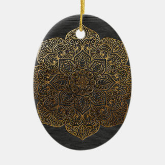 Wood mandala-gold ceramic oval ornament