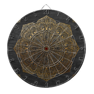 Wood mandala-gold dart board