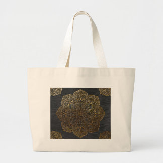 Wood mandala-gold large tote bag