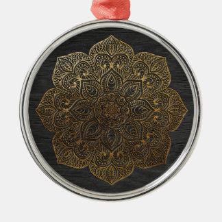 Wood mandala-gold Silver-Colored round ornament