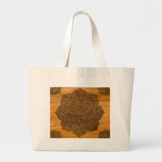 Wood mandala large tote bag