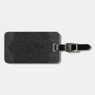 Wood mandala luggage tag