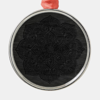 Wood mandala Silver-Colored round ornament