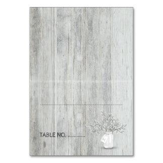 Wood Mason Jar and Baby's Breath Rustic Wedding Card