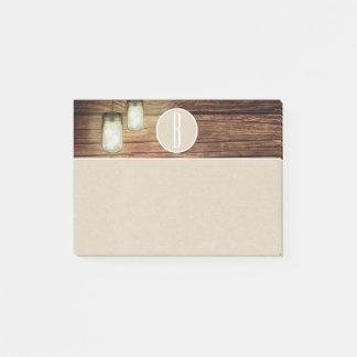 Wood Mason Jar Lights & Kraft Rustic Monogram Post-it Notes