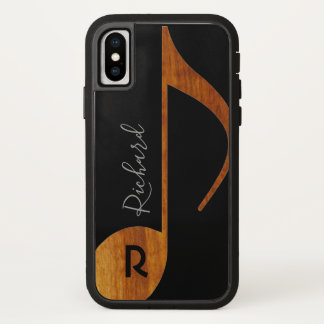 wood musical note with name on black iPhone x case