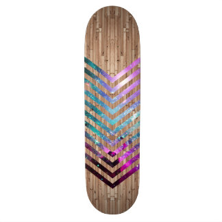 Wood nebula chevron skateboard