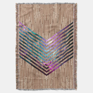 Wood nebula chevron throw blanket