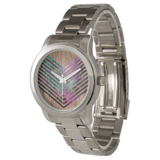 Wood nebula chevron watch