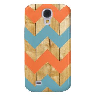 Wood orange blue chevron zigzag zig zag pattern