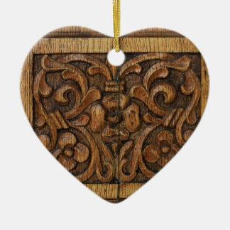 wood panel ceramic ornament