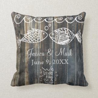 Wood Panel Fish Marine Nautical Custom Pillow
