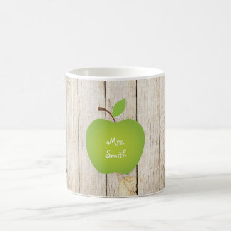 Wood Panel Green Apple Teacher's Coffee Mug