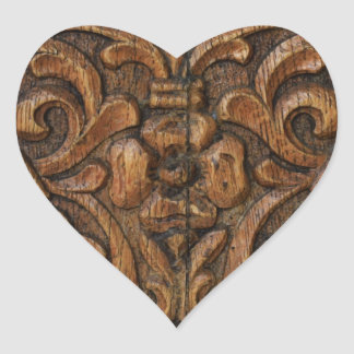 wood panel heart sticker