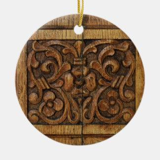 wood panel round ceramic ornament