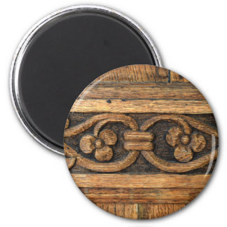 wood panel sculpture 2 inch round magnet