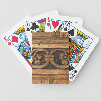 wood panel sculpture bicycle playing cards