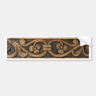 wood panel sculpture bumper sticker