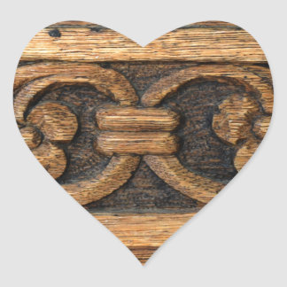 wood panel sculpture heart sticker