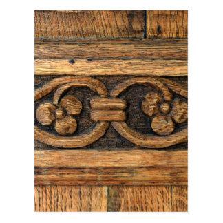 wood panel sculpture postcard