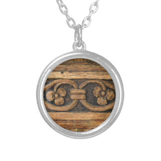 wood panel sculpture silver plated necklace