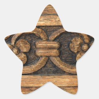 wood panel sculpture star sticker